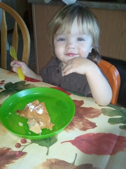This little guy loves pumpkin pie!!