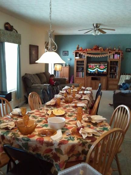 Our Thanksgiving table. It stretched into the dining room this year!